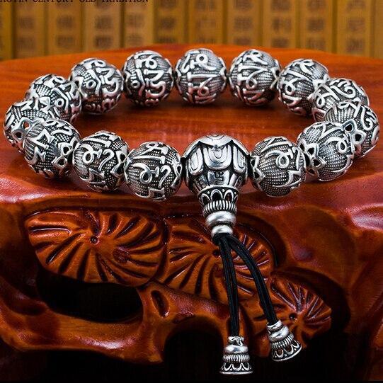 Hechos a mano tibetano OM pulsera perlas Mala budista OM Mani Padme Hum Beaded Mala pulsera tibetana Mala pulsera