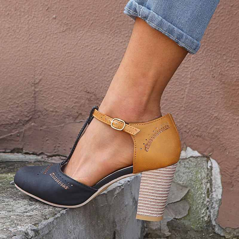 WENYUJH 2019 primavera bombas moda Retro cuero Patchwork T atado alto Tacón cuadrado sandalias de punta redonda Mujer sandalias romanas