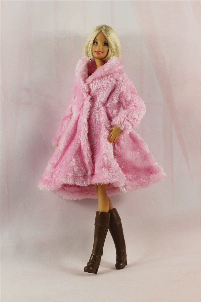 Fashion Leopard Winter Fur Coat For Barbie Dolls Clothes Long Dress Vestido Coat For 1/6 BJD Doll Accessories 1