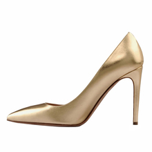 Amourplato Women's High Heel Gold-tone Dress Pumps Closed Toe Slip On Evening Events Plus Size Shoes