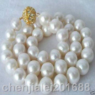Beautiful!12-13 MM White freshwater Cultured Pearl Necklace AAA+Beautiful!12-13 MM White freshwater Cultured Pearl Necklace AAA+