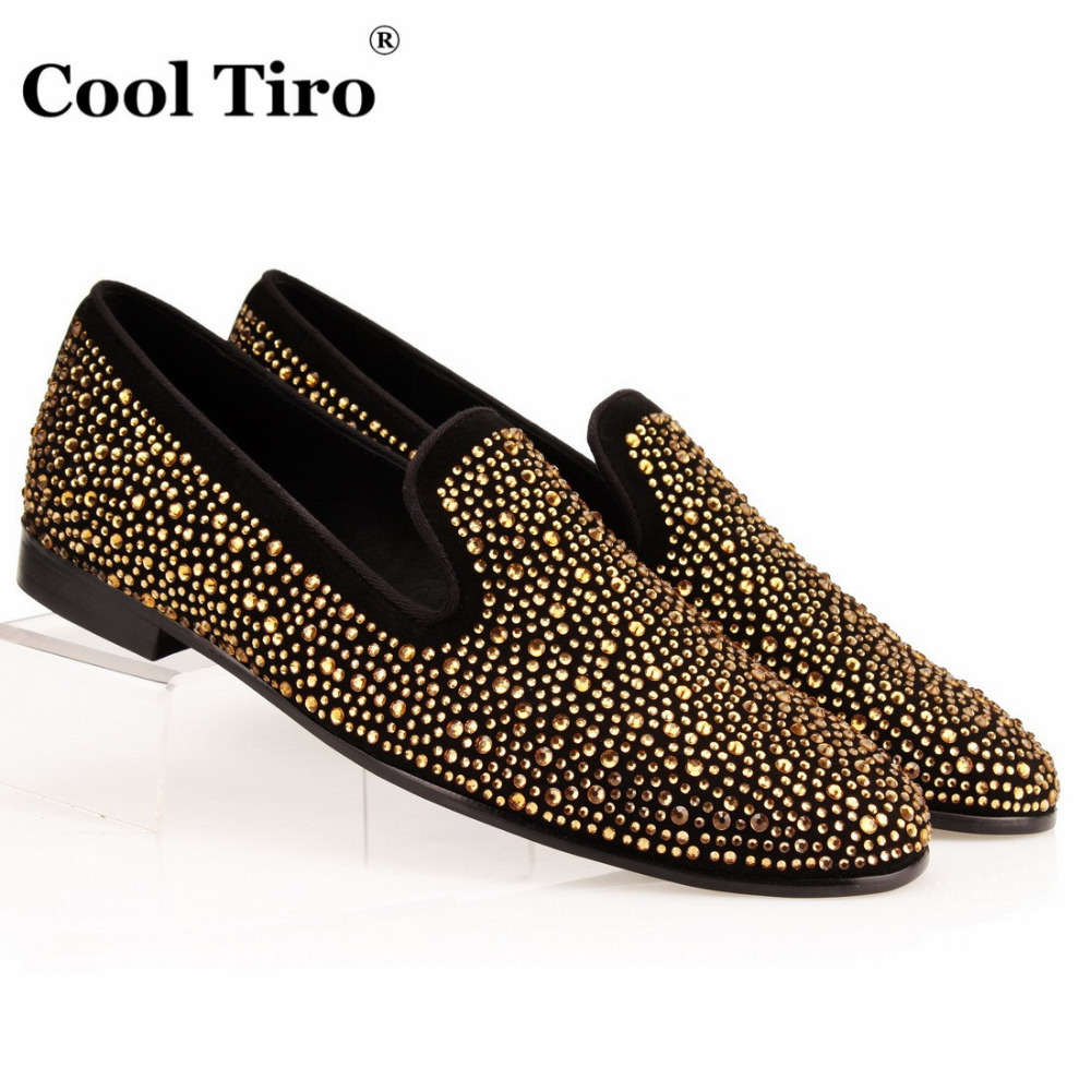 Men's Shoes Cool Tiro Men Loafers Gold Embroidery Slide Slippers Party Banquet Black Suede Dress Shoes Fashion Handmade Mens Flats Casual