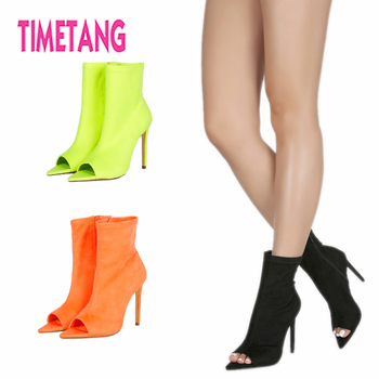 TIMETANG Summer Fashion Peep Toe High Thin Heel Woman Sandal Ankle Boots Pointed Toe Sexy Women Shoes Plus Size 34-44