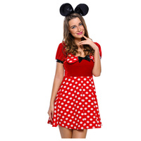 2016 Sexy Adult Cosplay 2pcs Polka Dot Mistress Mouse Costume Set Fancy Dress LC89029 Animal Costume