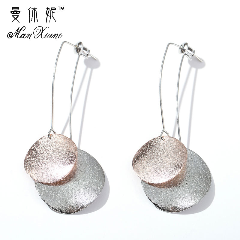Manxiuni Fashion Simple Metal Gold Sequin Earrings For Women pendientes mujer moda Women Jewelry Long Stud Earrings brincos image