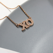 Crystal XO Letter Necklace Gold Chain necklaces & pendants Cute Fashion Long Choker Best Friend Gift