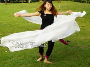 "Image 2 - 1 PIECE solid white 2.7m*1.14m(3 yard*45"")  6mm habotai real silk belly dance half circle veil."