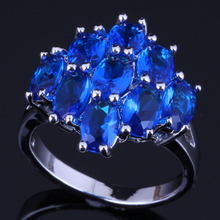 Alluring Oval Blue Cubic Zirconia 925 Sterling Silver Ring For Women V0419 alluring oval blue cubic zirconia 925 sterling silver ring for women v0419