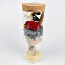 Preserved fresh Rose Flower Bouquet In Glass Dome With Led light For Birthday Mother day Gift