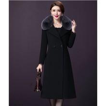 Женское зимнее длинное шерстяное пальто с меховым воротником, однотонное черное теплое двубортное шерстяное пальто, элегантное тонкое длинное шерстяное пальто 16-938