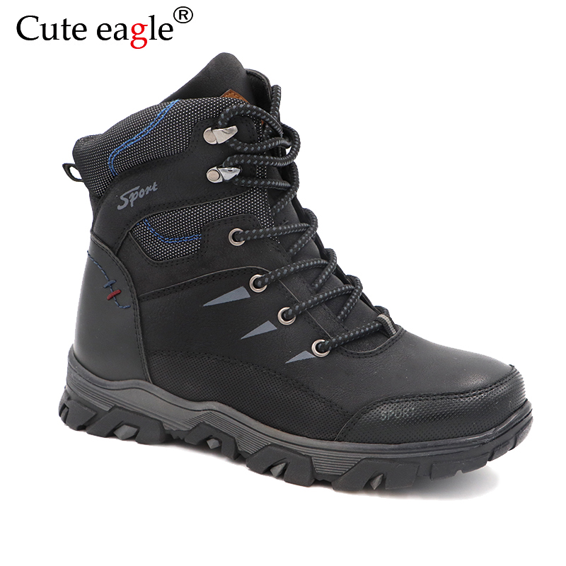 Big Kids Winter Felt Boots Waterproof Natural Leather Boys Shoes Warm Plush Rubber Winter Snow Boots for Boy EU Size 36-41