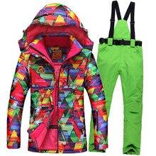 2017 Female Ski Suit for Women Girls Snowboard Jacket Pants Set Waterproof Windproof Snow Wear Winter Thermal Clothes цены