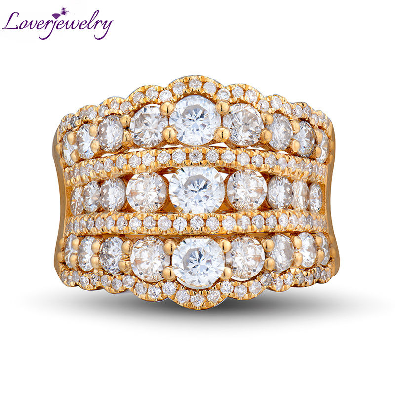 Amazing Wedding Band Ring In 18kt Yellow Gold Luxury Real Diamonds For Women Engagement Jewelry WU240
