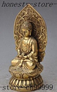 "TNUKK  6""tibet Handwork Carved buddhism temple brass lotus sakyamuni Tathagata Amitabha buddha statue metal handicraft."