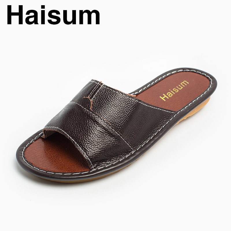 Men's Slippers Summer Genuine Leather Linen Woven Breathable Home Indoor Non-slip Slippers 2018 New Hot Tb006 ladies slippers summer genuine leather linen woven breathable home indoor non slip slippers 2018 new hot haisum tb010