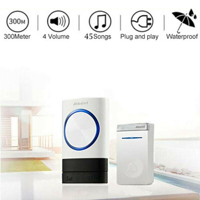 LED 4 Volume Wireless DoorBell Doorbell 45 Songs 300m Distance Remote Control