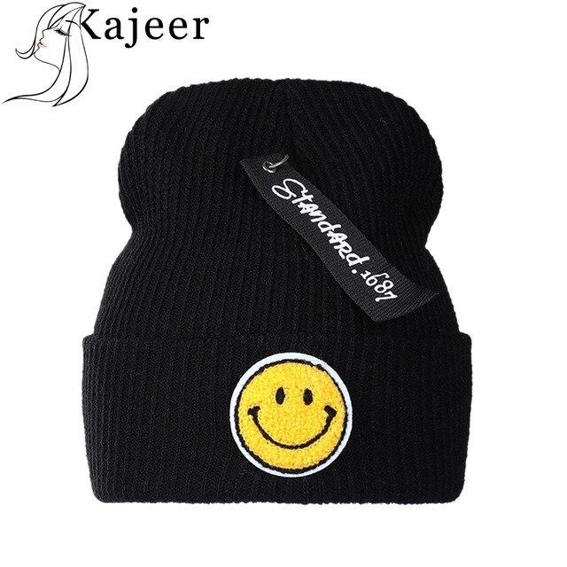 f246900a219 Kajeer Brand Women s Smiley Face Winter Hat Knitted Wool Beanie
