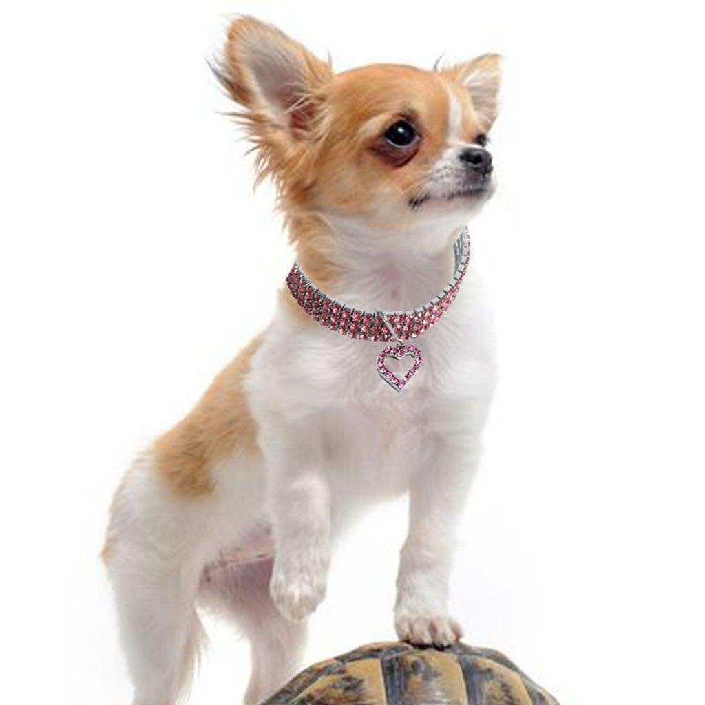 #30 mini cão de estimação bling strass coleiras chocker bonito cão em forma de coração colar nova chegada dropshipping coleira para cachorr