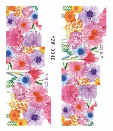1 folhas 2019 Adesivo Água De Lavanda Bouquet Decorações Da Arte Do Prego Roxo Blooming Flor Deslize Beleza Decalques para Unhas