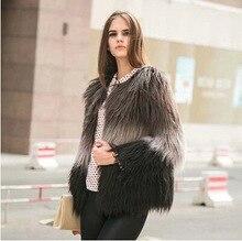 2016 new fashion Winter Women Gradient  Coat Faux Fur Outerwear  Fur Overcoat Fur Jacket XS-XL LML122
