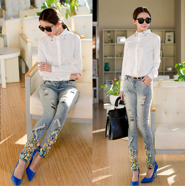 European Fashion Handmade Diamond Ladies Jeans Female Broken Hole Pencil Pants Jeans With Rhinestone A-22