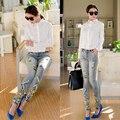 Europeu Moda Artesanal de Diamantes Senhoras calças Jeans Femininas Buraco Quebrado Calças Lápis Jeans Com Strass A-22