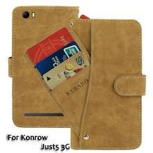 Vintage Leather Wallet Konrow Just5 3G 5 Case Flip Luxury Card Slots Cover Magnet Stand Phone Protective Bags teclast p98 3g phablet protective leather stand case brown