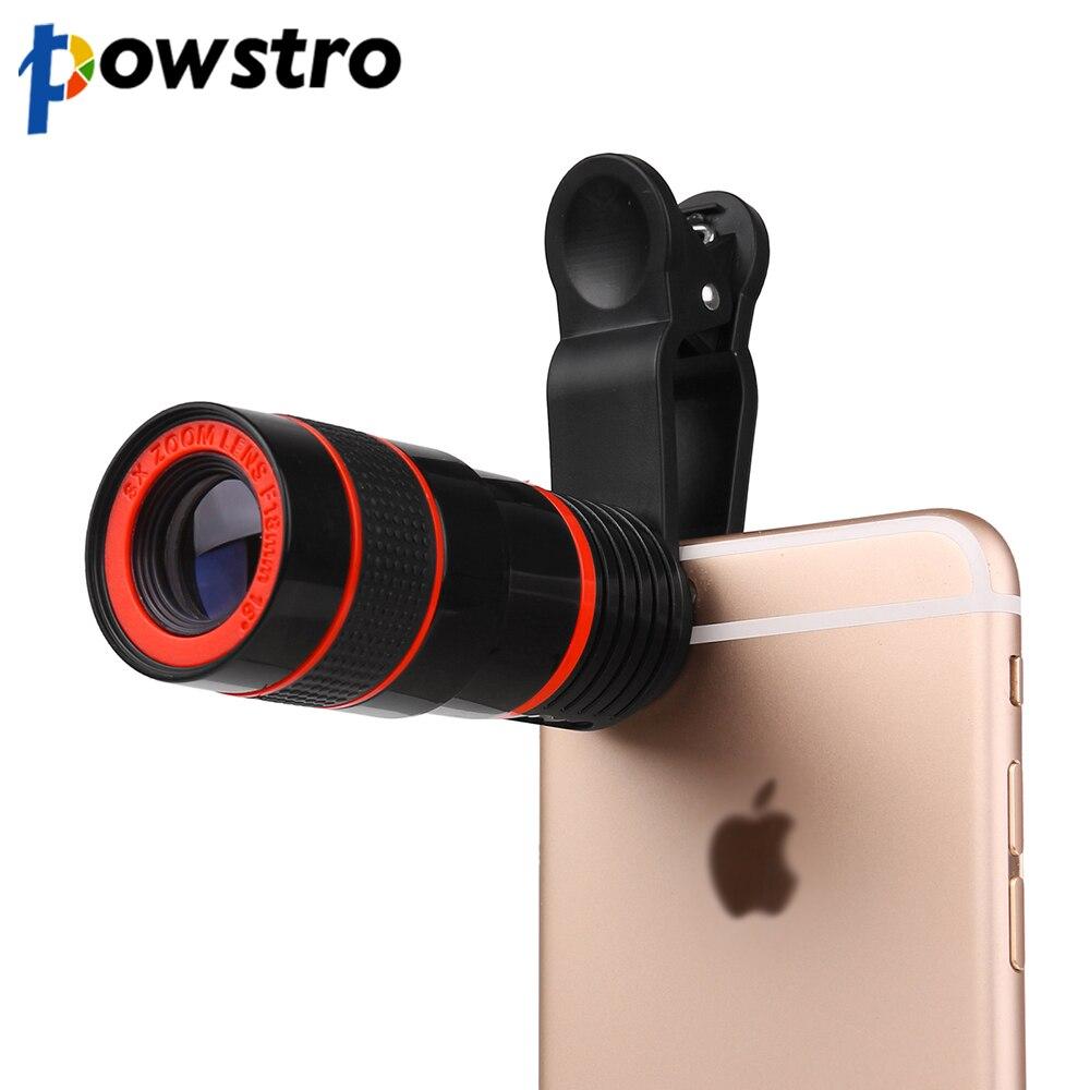 Powstro 8x de zoom telescópio lente da câmera para o iphone 6 6s telefoto camera lens com clip para samsung & para htc e outros smartphones