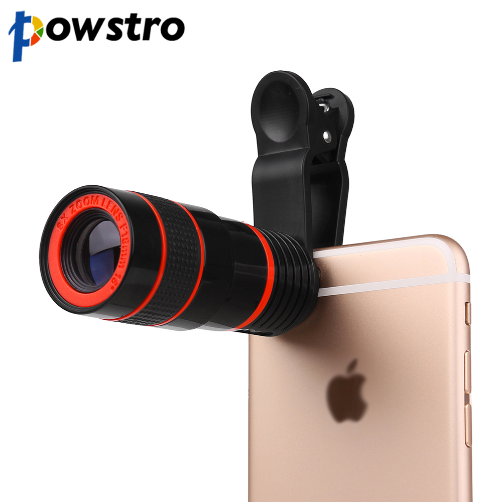 Powstro kamera objektiv für iphone 6 6s 8x zoom teleskop tele kamera objektiv mit clip für samsung & für htc und andere smartphone