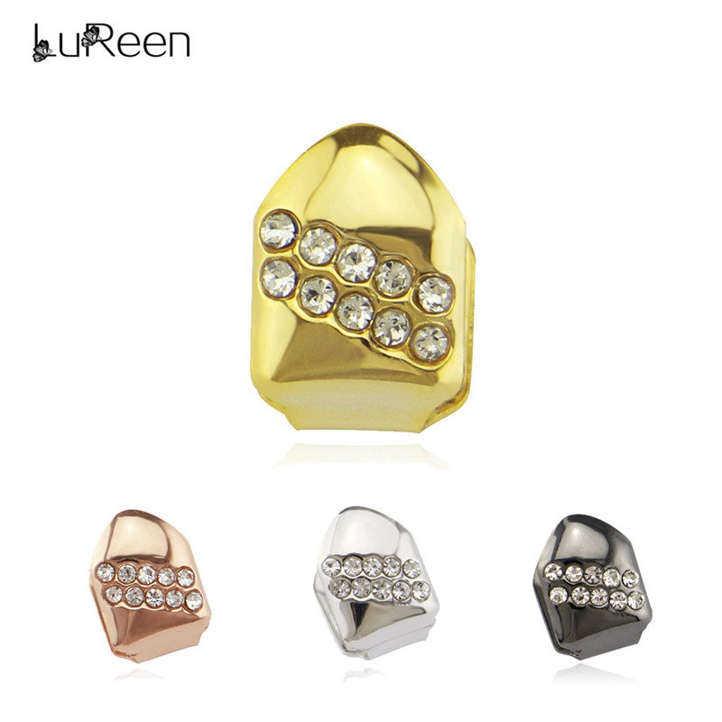 LuReen Bling Rhinestone Single Grills Hiphop Top Gold