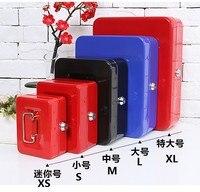 Cashier lock box key open money saving boxs bin fuse change small iron safety safes M 20*16*9CM