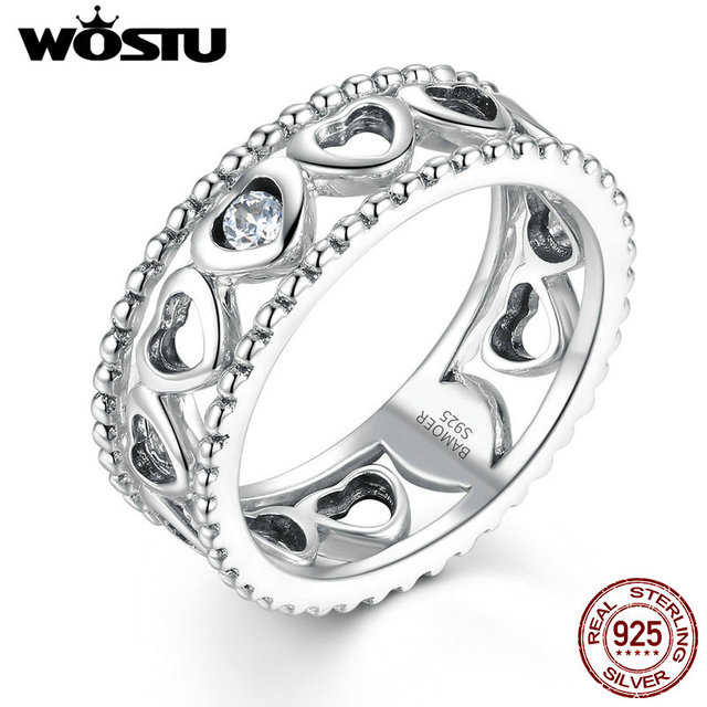 100% Real 925 Sterling Silver Cheio de Amor do Coração Anéis de Casamento com Clear CZ Para As Mulheres De Luxo Multa Original S925 Jóias Presente