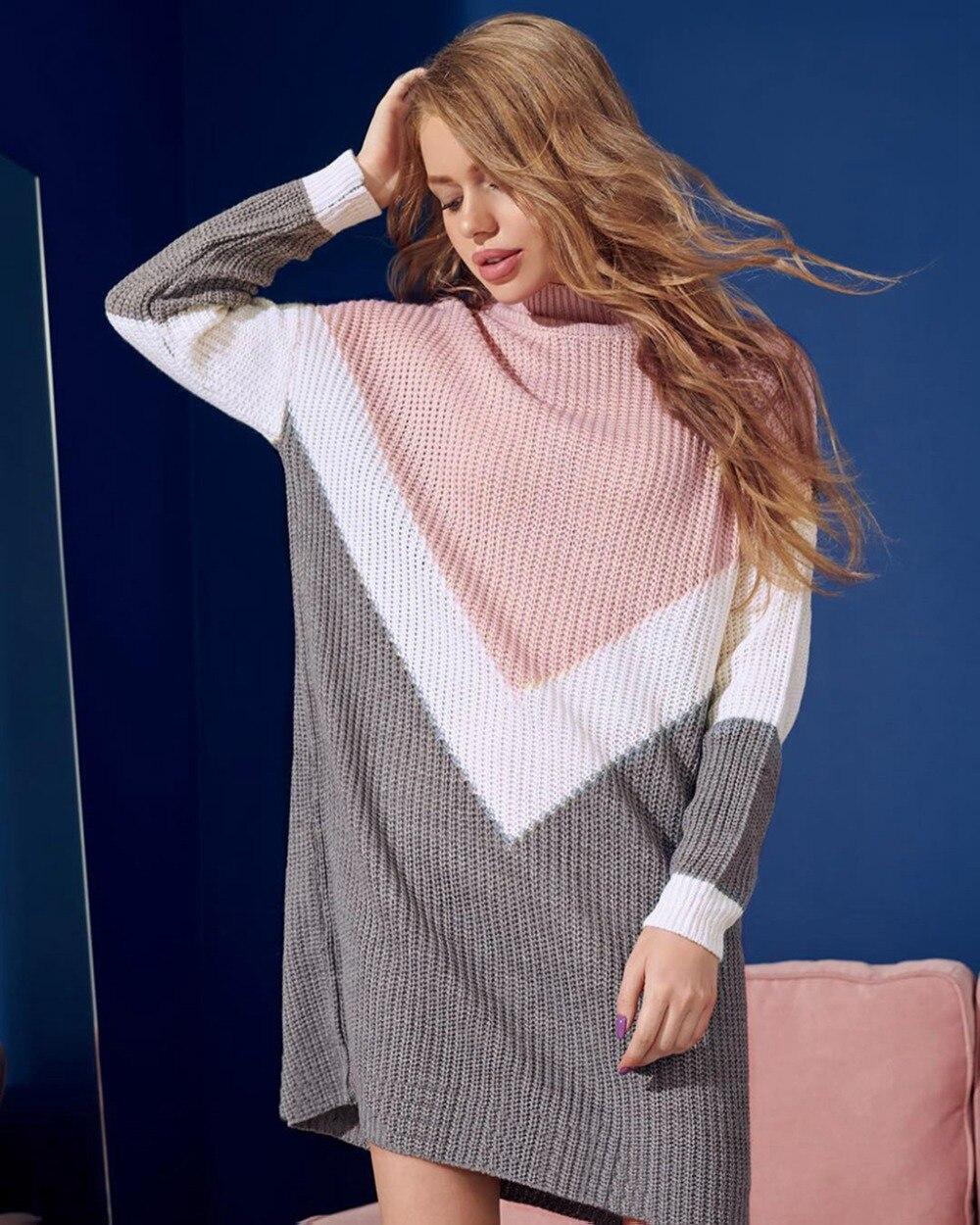 Women Winter Sweater Geometric Pattern Sweaters Patchwork Block Style Casual Jumpers Warm Fashion Office Long Sleeve O-neck