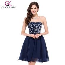 7935f89ccde Corto vestido de fiesta Grace Karin azul marino rojo verde negro vintage  gasa Homecoming formal con