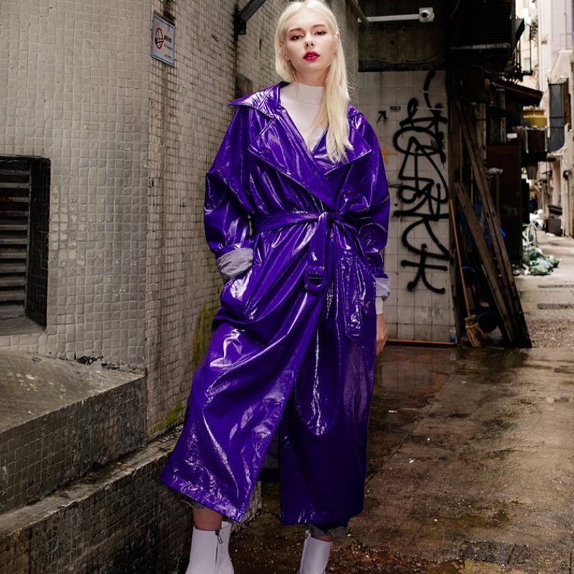 2018 Autumn Fashion Women's PU Windbreaker Glossy Jacket Female Long Coat Patent Leather Plus Size Purple Leather Outwear L1124