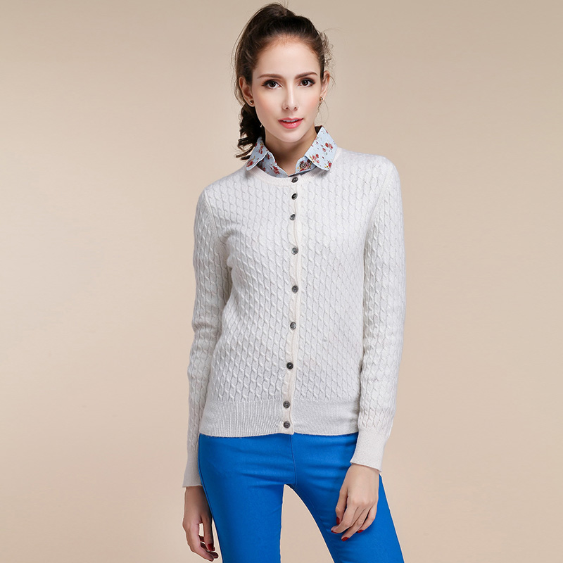 Women's Long Sleeve Knitted Cashmere Cardigan Sweater Women Autumn ...