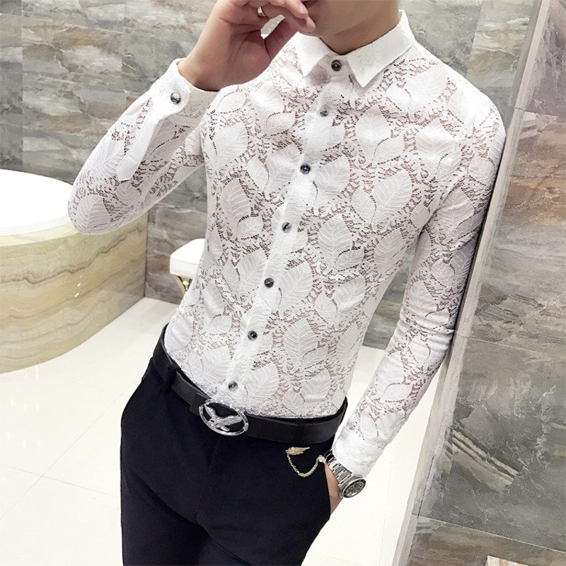 Gentlemen Shirt Dress 2019 Spring New Long Sleeve Men Shirt All Match Quality Lace Hollow Mens Casual Shirts Night Club Tuxedo