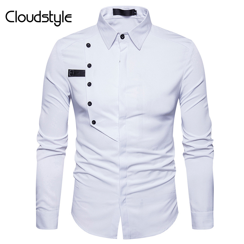 Cloudstyle Brand New White Men Shirt 2018 Fashion Business Design Mens Slim Fit Dress Shirts Casual Social Pure Color Shirts Slim Fit Dress Shirt White Men Shirtwhite Mens Business Shirts Aliexpress