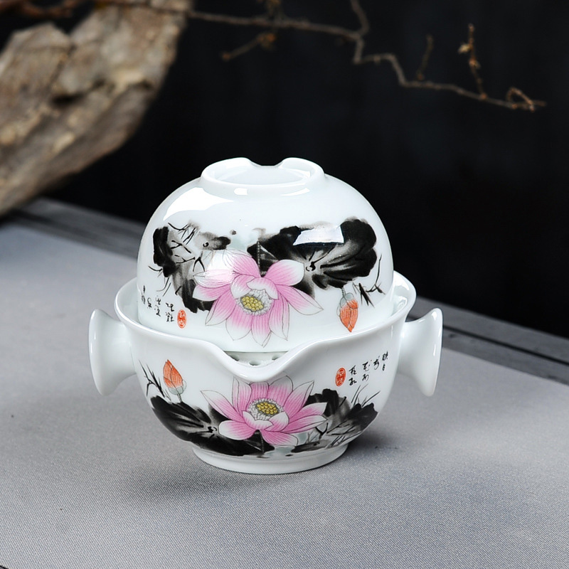 Chinese Landscape Painting Travel Tea Set Include 1 Pot 1 Cup,Beautiful And Easy Teapot Kettle,kung Fu Teaset Elegant Gaiwan