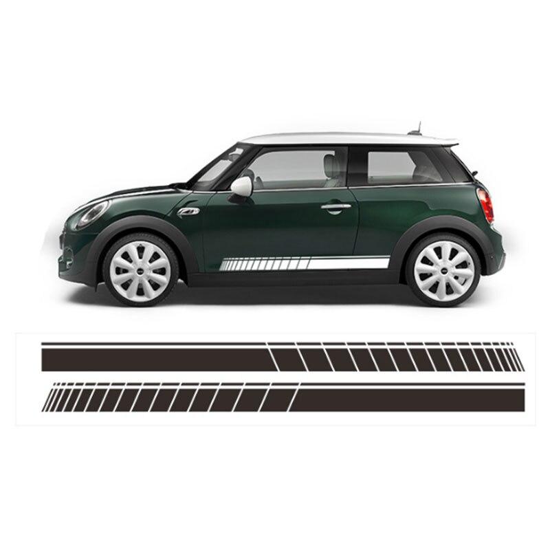 2x автомобиль Стайлинг сторона гоночная юбка в полоску Ограниченная серия наклейки для MINI Cooper R50 R52 R53 R56 R57 R58 R59 F55 F56 F54 - Название цвета: Зеленый