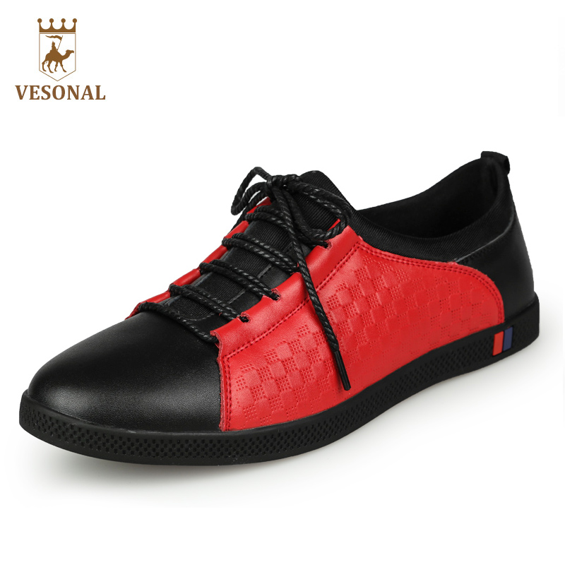 VESONAL 2017 Brand Casual Male Shoes Men Oxfords Walking Quality Genuine Leather Man Footwear Adul Comfortable Breathable Man male casual shoes soft footwear classic men working shoes flats good quality outdoor walking shoes aa20135