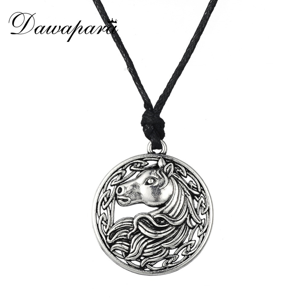 Dawapara irlandeză nod bijuterii animale rotunde bărbați pandantiv lanț de cai colier accesorii vintage