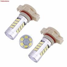 2 x H16 PS19W 21 W LED lampara 2835 42SMD LED DRL fuente de luz luz de niebla bombillas coche LEVOU 12 V, 6000 K
