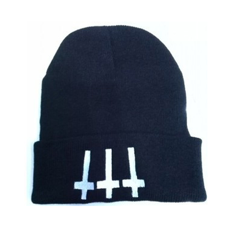 Black Punk Cross Embroidery Hip Hop Hats Autumn Winter Knitting   Skullies     Beanies   for Women Hipster Unisex Casual Knitted Caps