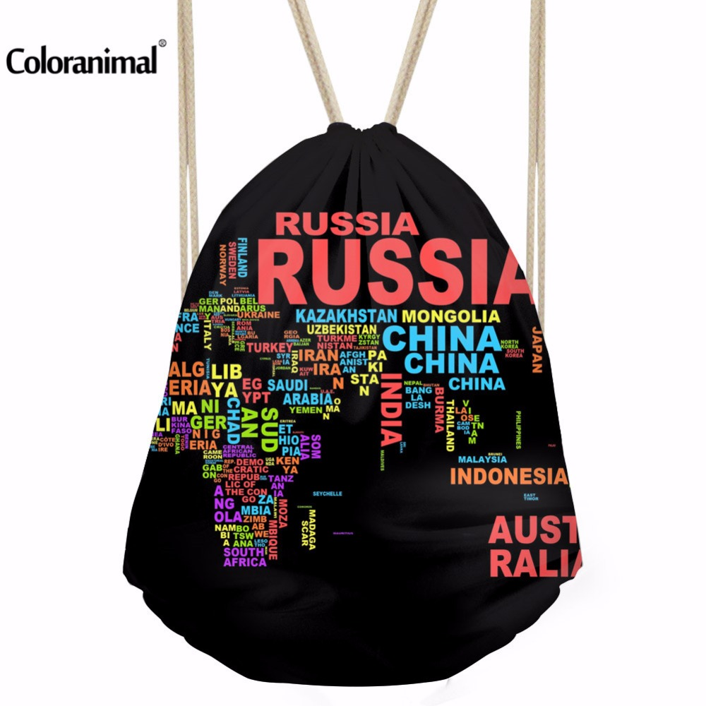 Coloranimal World Map Printing Men's Drawstring Bag Women Daily Casual Travel Shopping Shoulder Bookags Bags Female Storage Bags