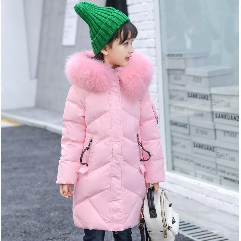 Fashion Children Down Jacket for Girls New Design Kids Long Coat Style Outdoor Windproof Thickening Coat Parka Child Outerwear high quality children winter outerwear 2017 baby girls down coats jacket long style warm thickening kids outdoor snow proof coat