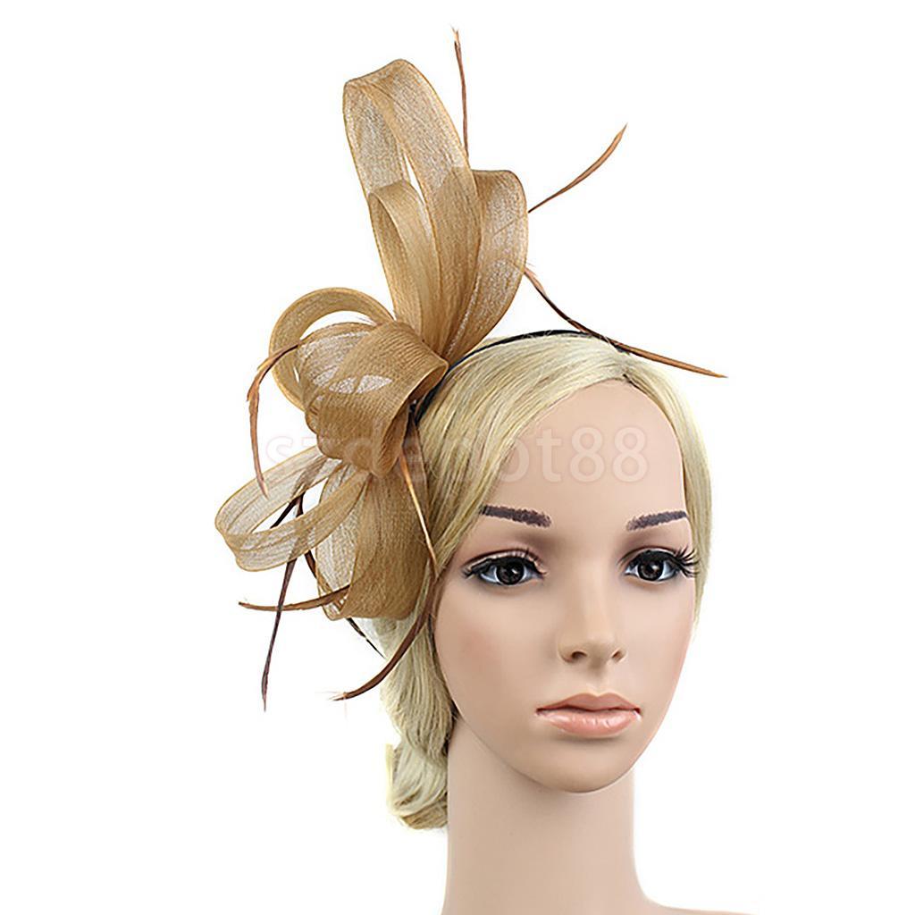 Feather Fascinator Headband Lady 1920s Great Gatsby Headpiece Church Party