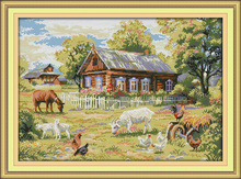 Needlework,11/14ct DMC color Cross stitch,Set For Embroidery kit,Farm House Morning Landscape Pattern Cross-Stitch Wall Decor