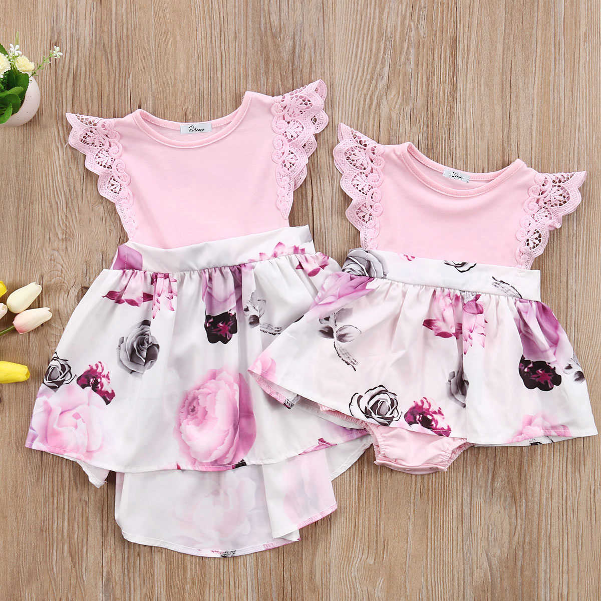 875274691c139 Sister Matching Outfits Little Sister Kids Girls Lace Floral Dress ...