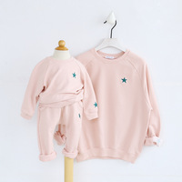 Family look family matching clothes mother daughter hoodies outfits solid pink sweatershirts autumn 2017